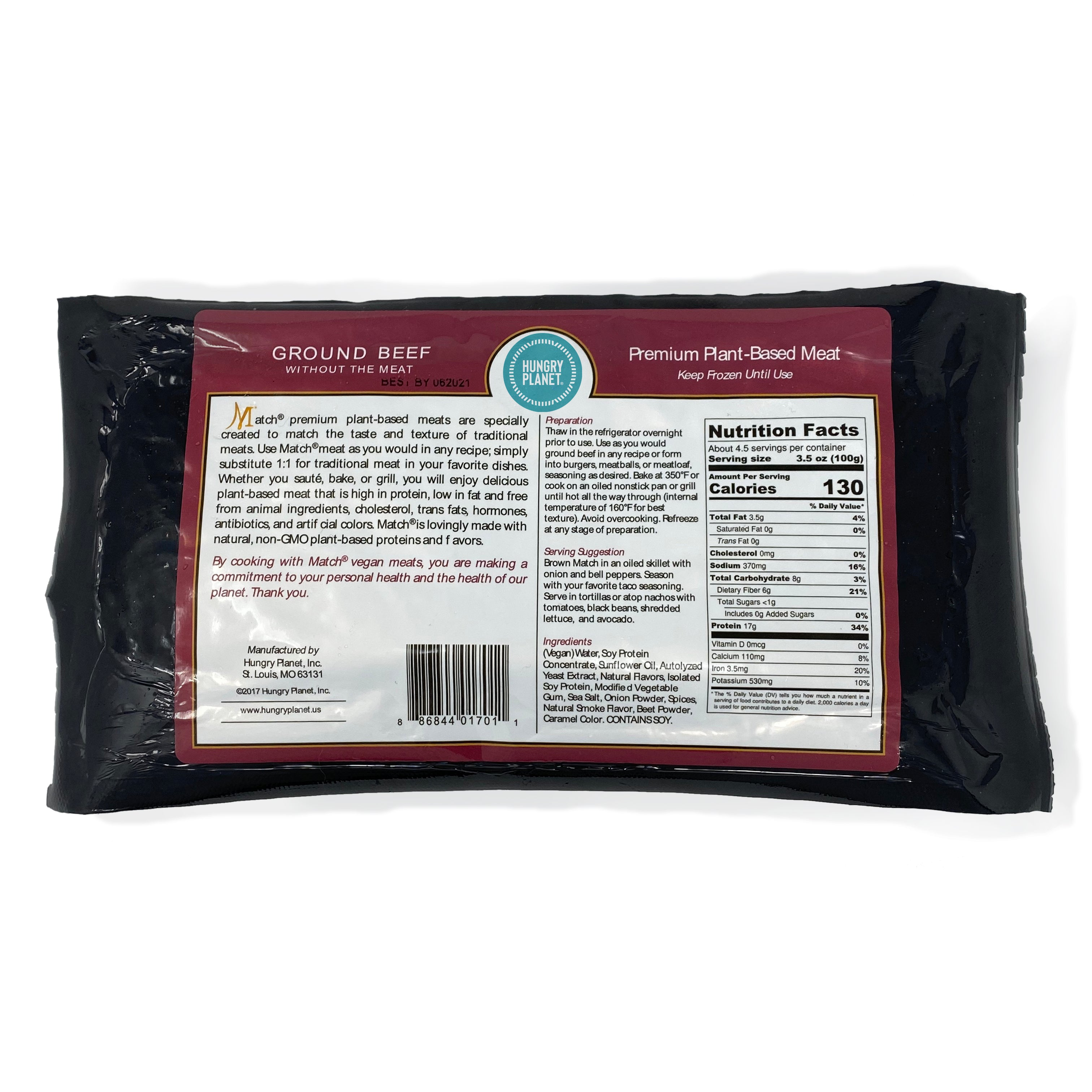 Hungry Planet Beef<sup>™</sup> Ground<span>100% Plant-Based, 1 lb chubs</span> (Pack of 12 chubs)