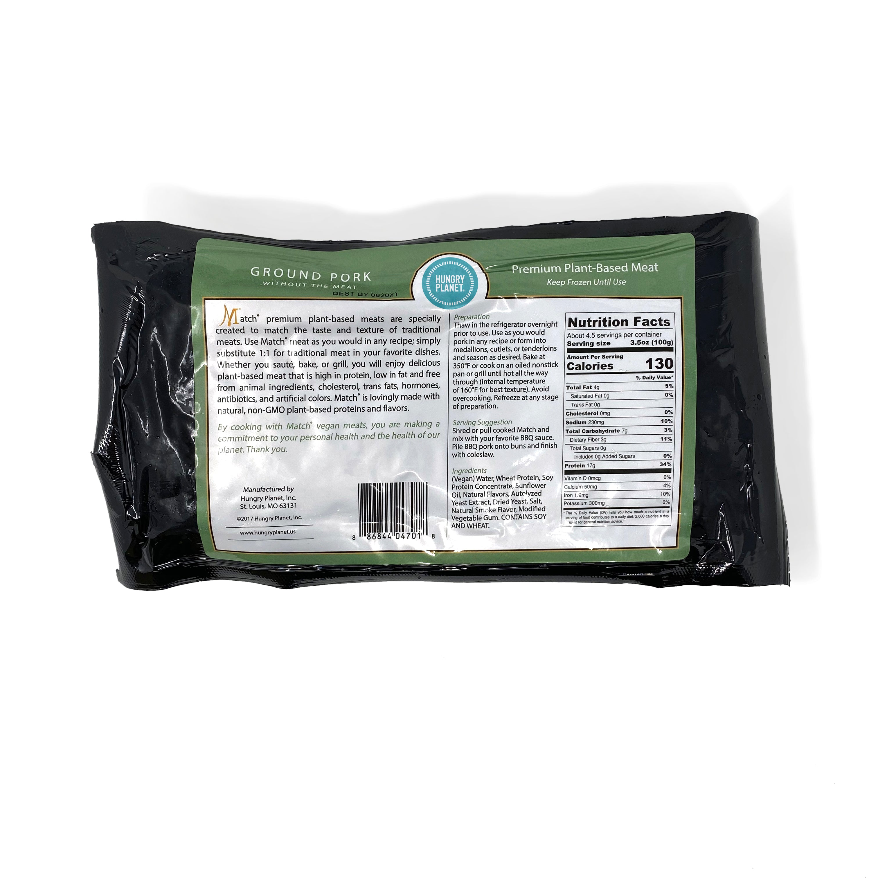 Hungry Planet Pork<sup>™</sup> Ground<span>100% Plant-Based, 1 lb chubs</span> (Pack of 12 chubs)