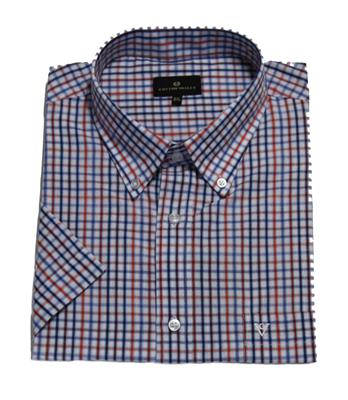 COTTON VALLEY 14292 CASUAL SHIRT BLUE/ORANGE
