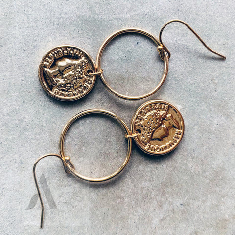 Gold Coloured Small Coin and Circle Drop Earrings