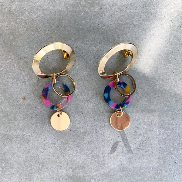 Pink Tortoiseshell and Gold Toned Circle Earrings