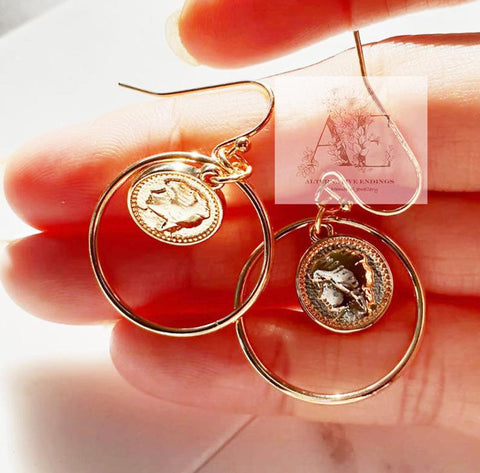Gold Coin with Circle Small Hoop Earrings