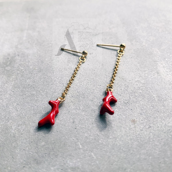 Small Red Coral Gold Threader Earrings