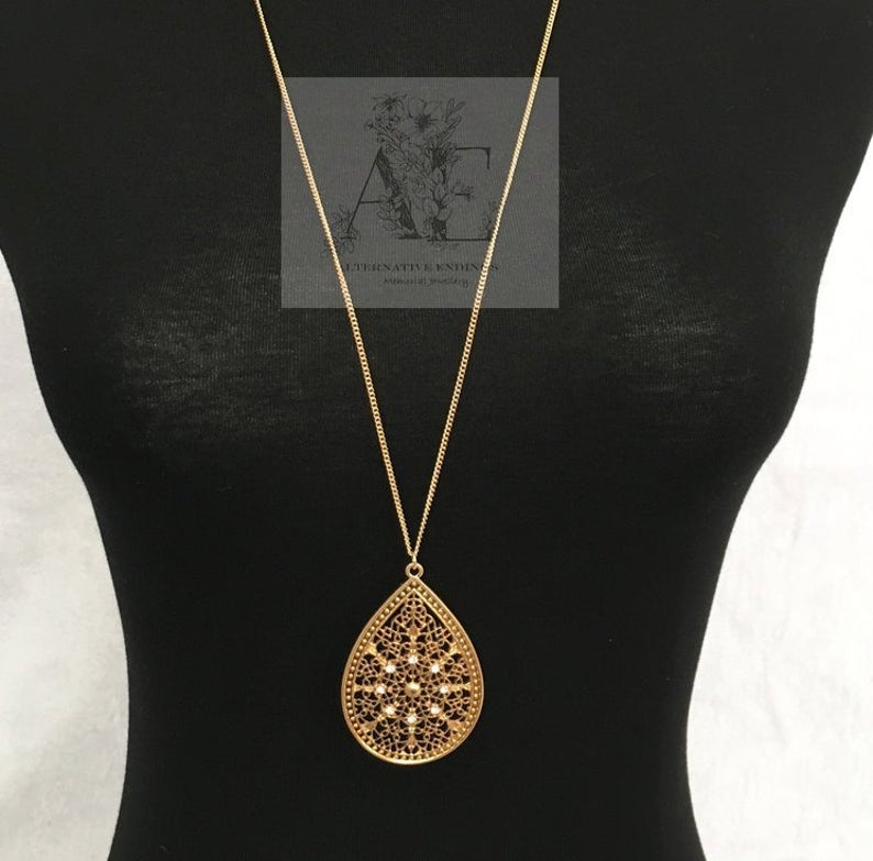 Long Gold Filigree Necklace