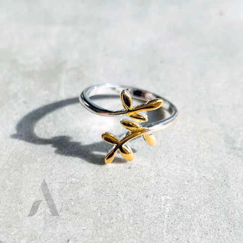 925 Sterling Silver Adjustable Gold Plated Ivy Ring