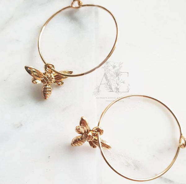 Gold Tone Bee Charm Hoop Earrings