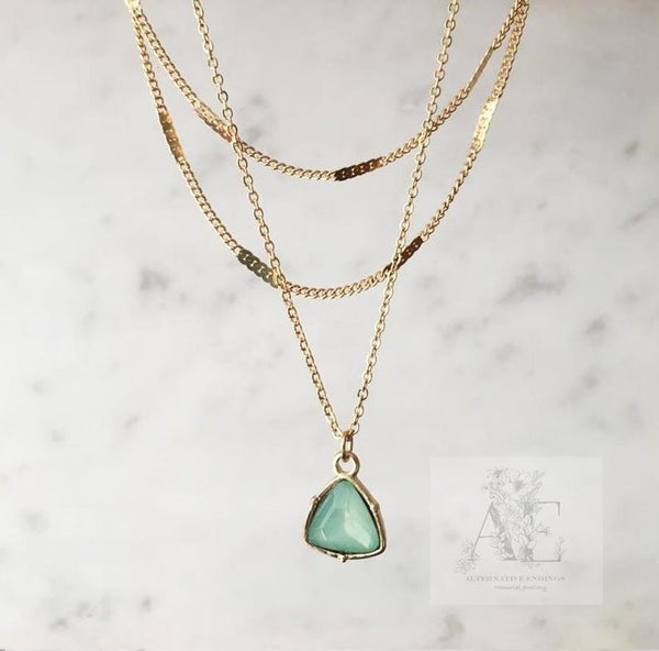 Green Crystal Layered Necklace