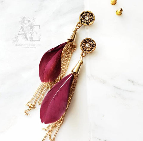 Red Feather and Gold Tassel Earrings from Jewellery AE
