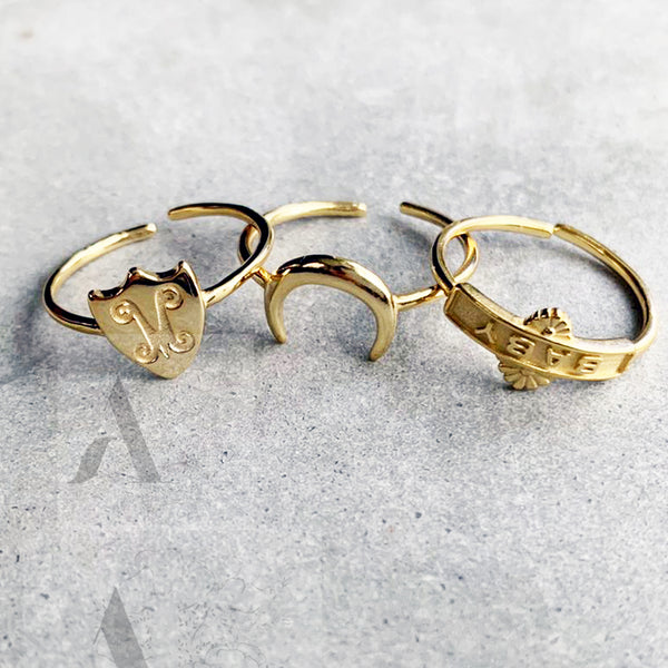 Adjustable 925 Sterling Silver Gold Plated Stackable Rings