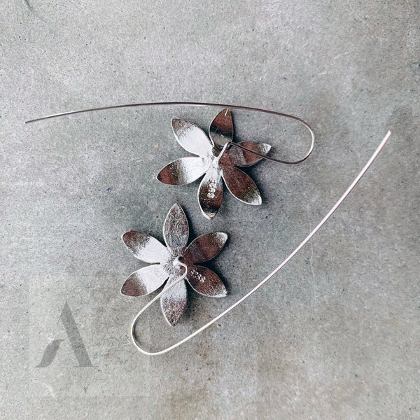 Floral drop sterling sliver earrings