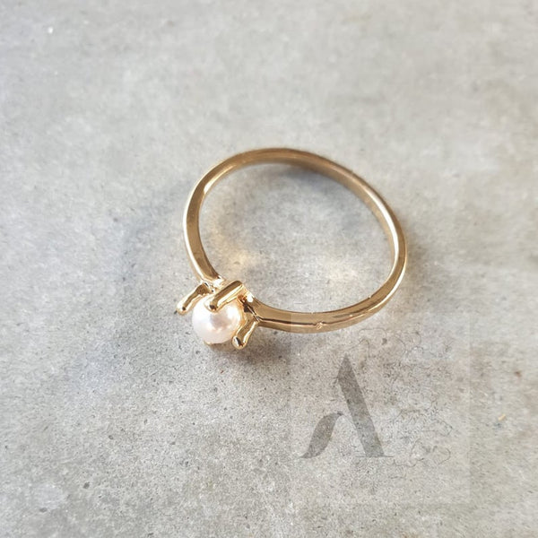 Gold Plated Dainty Tiny Pearl Ring