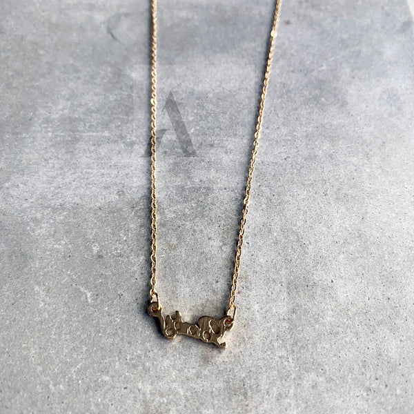 Gold Tone Baby Letter Necklace