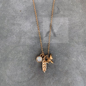 Gold Tone Bee and Charms Necklace