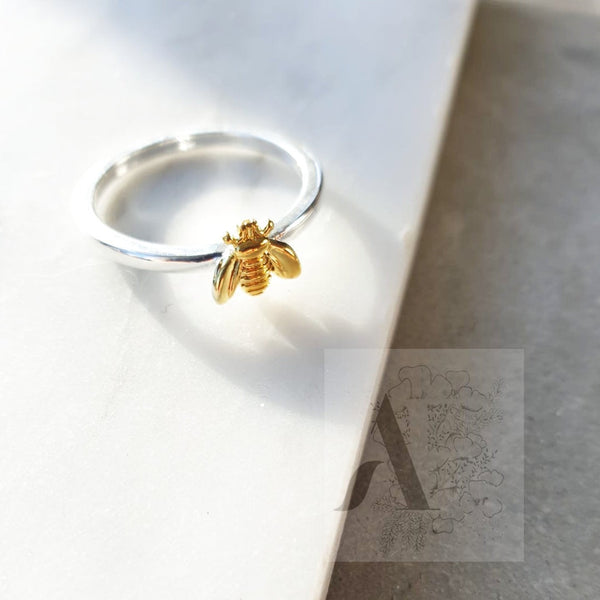 925 Sterling Silver Two Tone Bumble Bee Ring