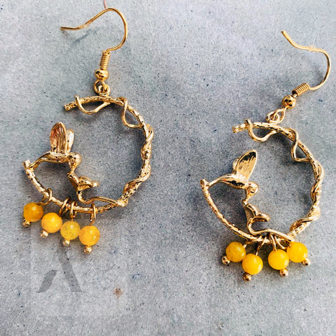 Gold Plated Hummingbird Earrings with Dangled Beads