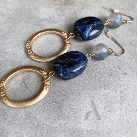 Resin Blue Stone and Gold Circle long Earrings