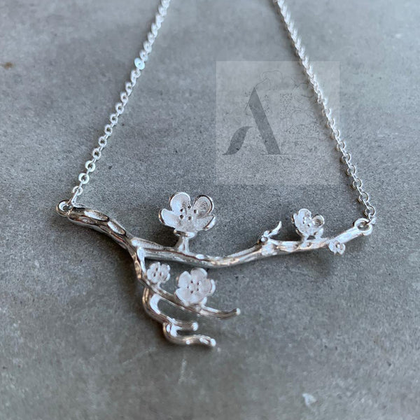 925 Sterling Silver Spring Cherry Blossom Necklace