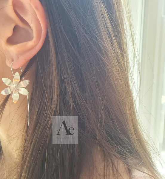Model wearing silver cherry flower earrings