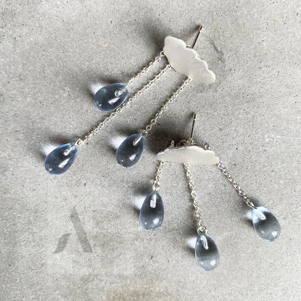 925 Sterling Silver cloud with raindrops earrings