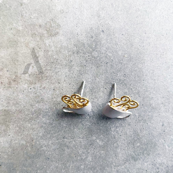 Sterling Silver Coffee Cup Earrings with gold plated coffee