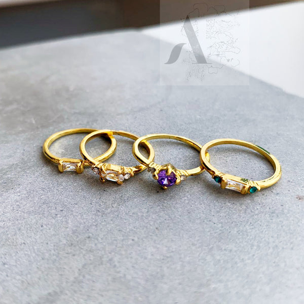 Set of 4 Crystal Stacking Rings