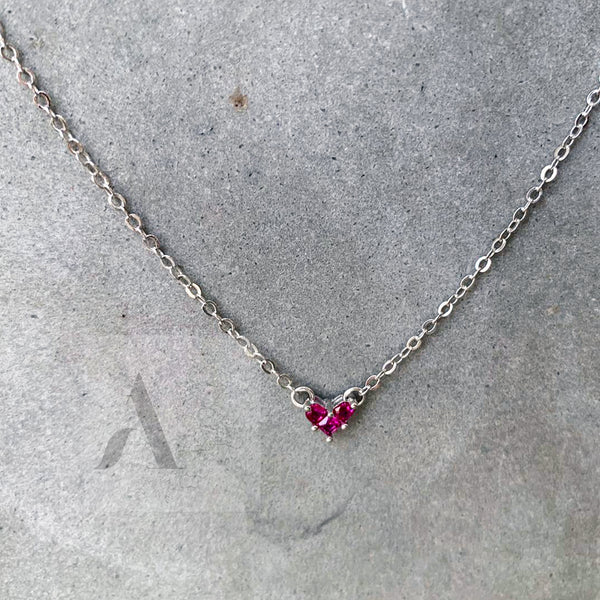 925 Sterling Silver Tiny Red Crystal Heart Necklace