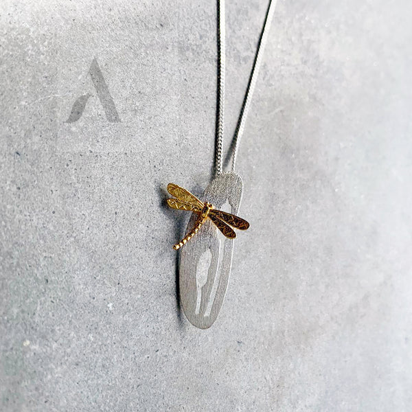 925 Sterling Silver Gold Plated Dragonfly Necklace