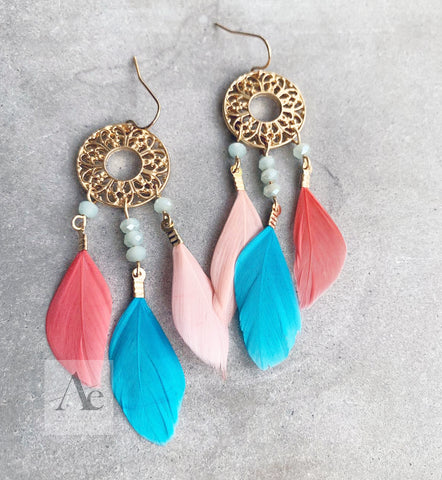 Dream Catcher and Feather Earrings