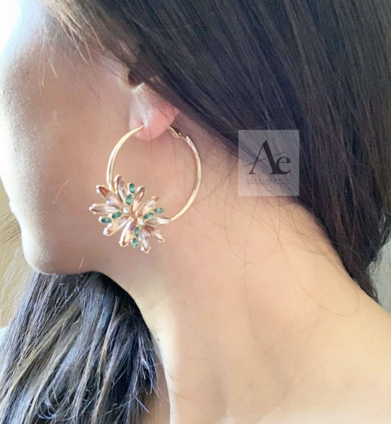 Multi-Colour Swarovski Rhinestone Flower Hoop Earrings