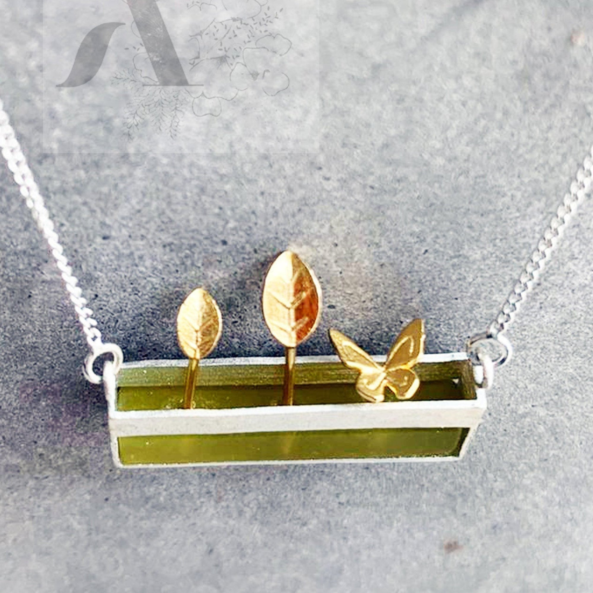 925 Sterling Silver with Serpentine Stone Miniature Garden with Gold flowers & Butterfly Necklace