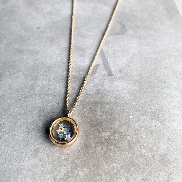 Gold Tone Glass Pendant with Tiny Star Necklace