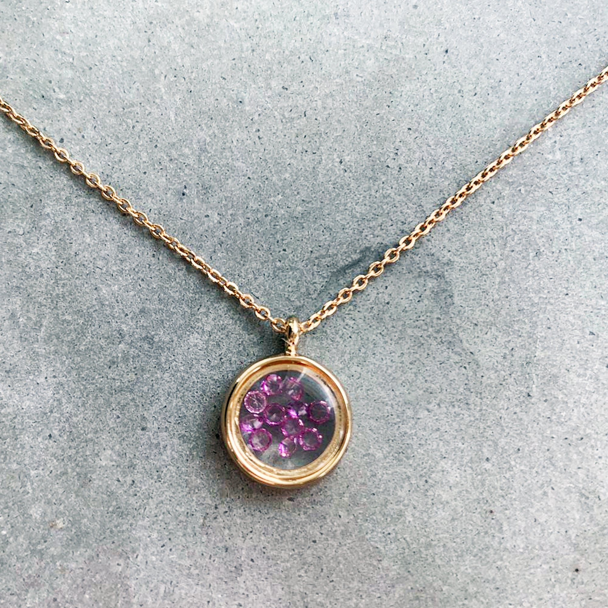 Gold Tone Glass Pendant Necklace with Purple Crystals