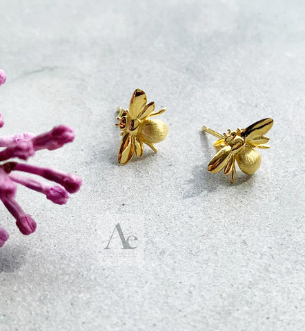 925 Sterling Silver 18k Gold Plated Bee earrings
