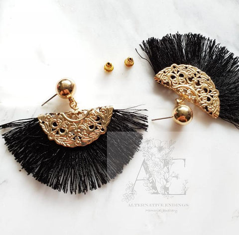 Gold Fan Black Tassel Earrings