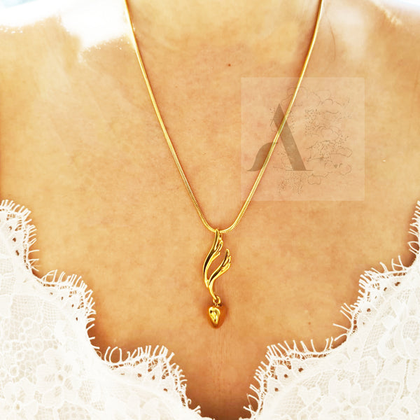 Gold and Silver Tone Stainless Steel Heart with Wing Ash Urn Necklace