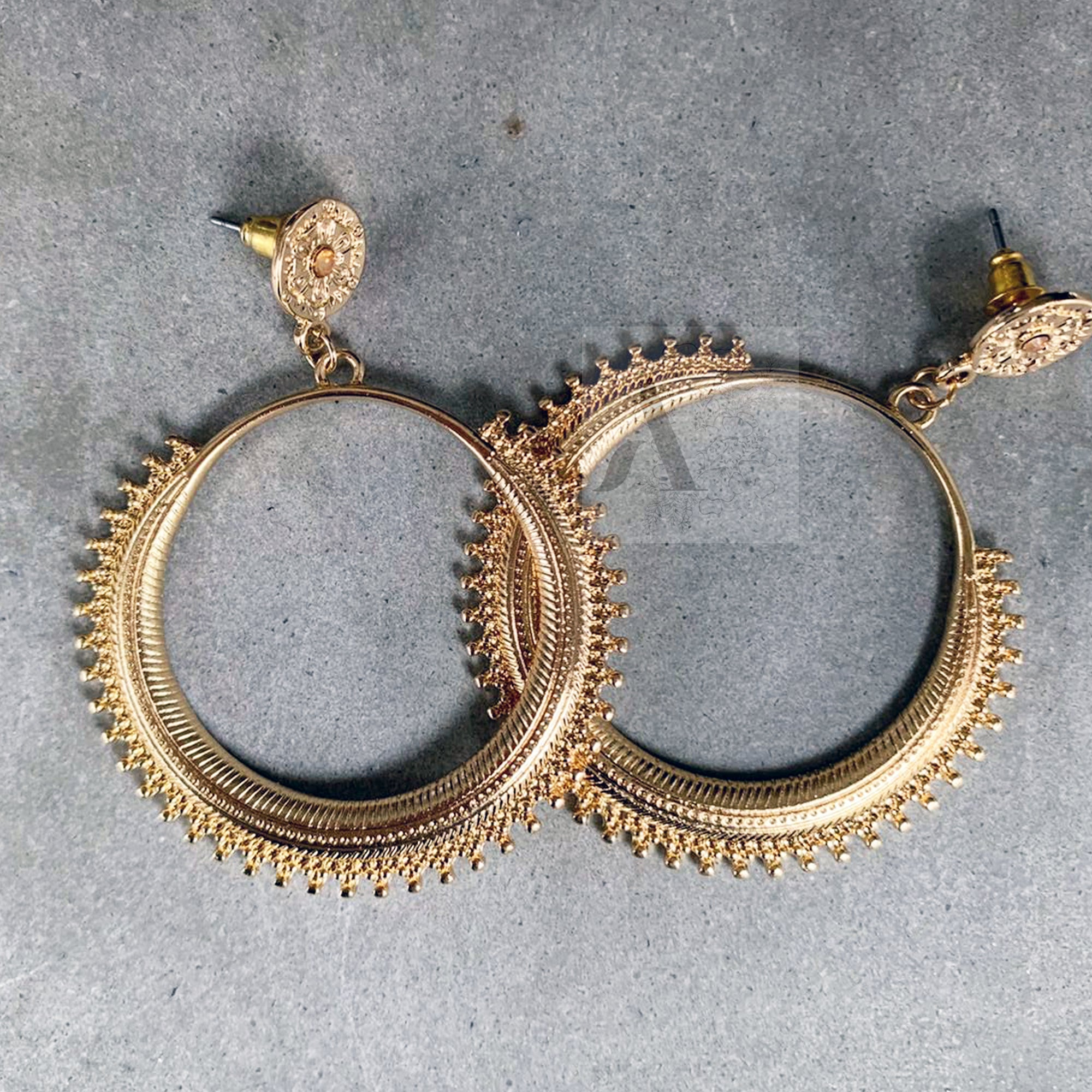 Gold Toned Tribal Style Earrings
