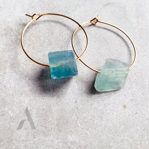 Aqua druzy quartz Raw Gemstone Gold Hoop Earrings from jewelleryae.com