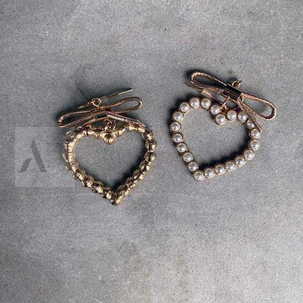Gold Toned Heart Shaped Earrings Engraved with Pearls with Bows