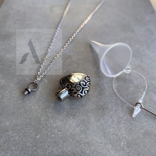 Stainless Steel 'Always in My Heart' Cremation Ash Urn Necklace