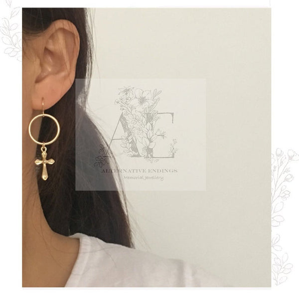 Gold Small Cross and Circle Drop Earrings