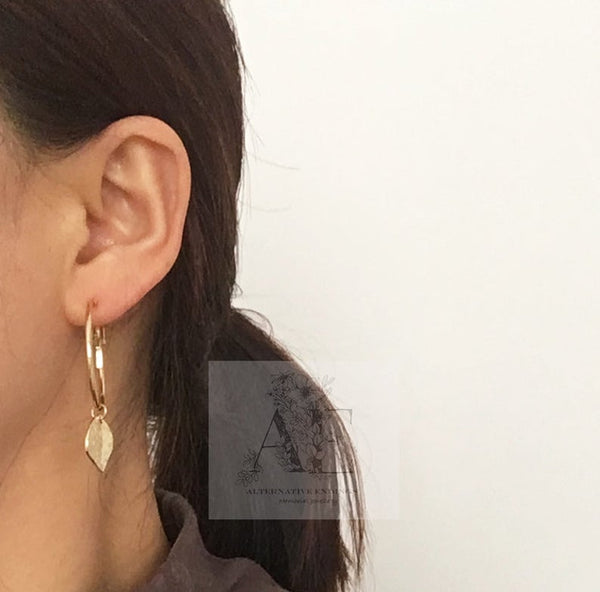 Gold Tone Hammered Small Hoop Earrings