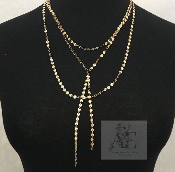 Gold Tone Sequin Necklace