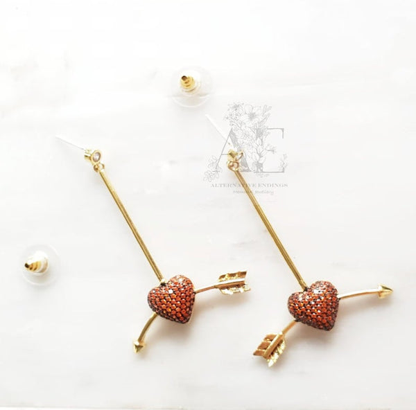925 Sterling Silver Gold Plated Red CZ Stone Cupid Heart and Arrow Earrings