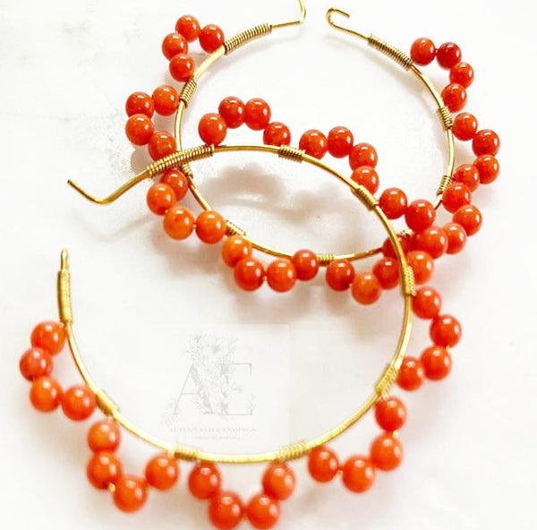Tiny Red Coral Gold Hoop Earrings