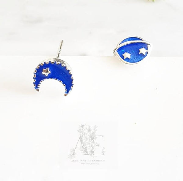 925 Sterling Silver Mismatched Moon and Saturn Earrings