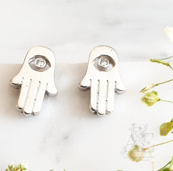 925 Sterling Silver Hamsa Stud Earrings