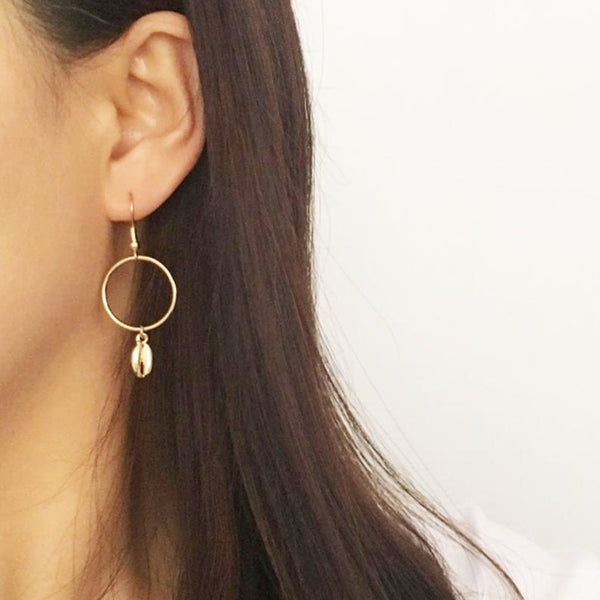 Gold Toned Tiny Cowrie Shell Earrings