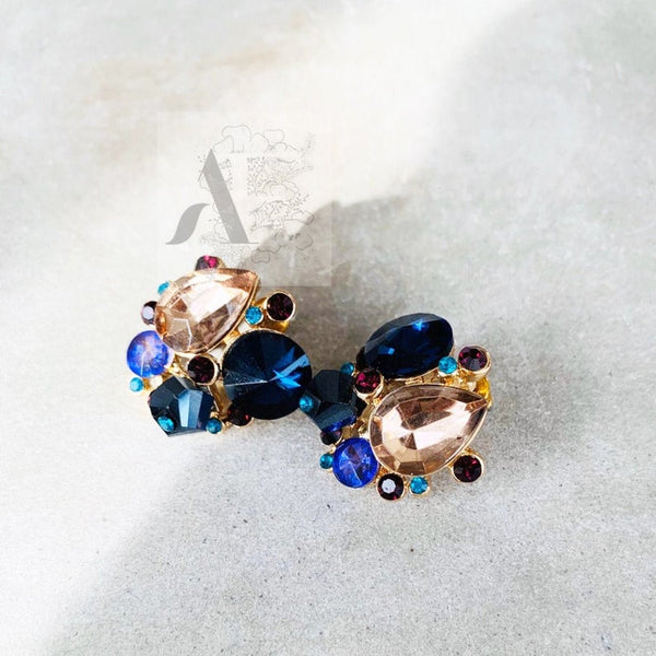 Colourful Swarovski Cluster Crystal Stones Earrings