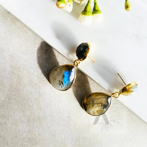 Labradorite Stone Around Stud and Teardrop Dangle Earrings from jewelleryae.com