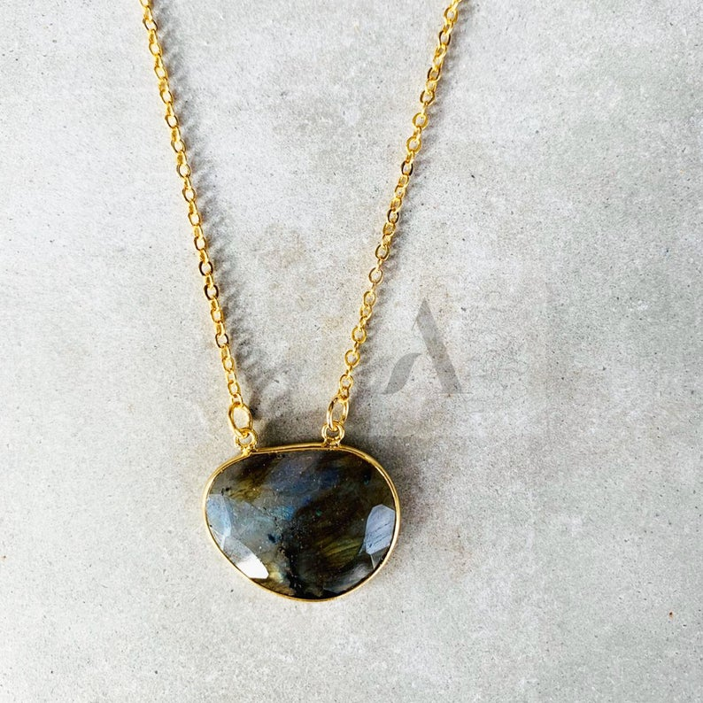 Gold Plated Labradorite Stone Statement Necklace